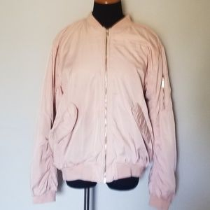 H&M Plus Size Blush Pink Bomber Jacket 14